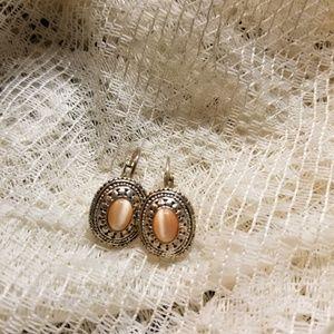 Silver vintage hinged jeweled earrings
